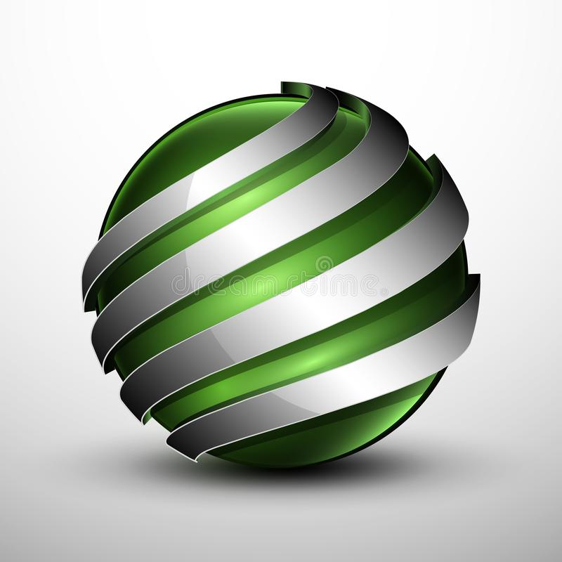 3d logo.Green sphere with a metal sections royalty free stock photo