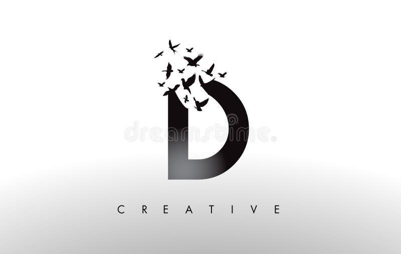 D Logo Letter mit Menge von den Vögeln, die von fliegen und sich auflösen vektor abbildung