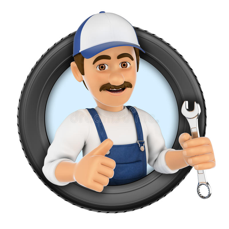 3D Logo. Mechanic with wrench and tyre. 3d logo illustration. Mechanic with wrench and tyre. White background stock illustration