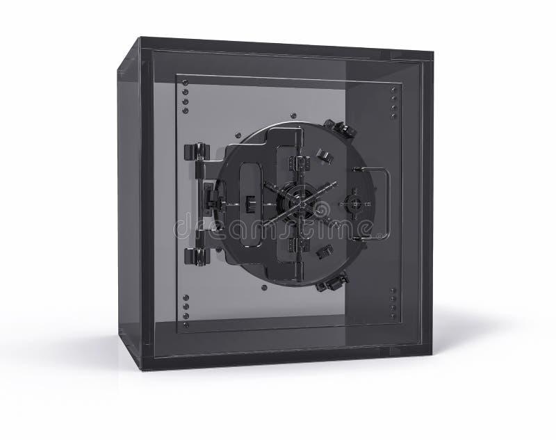 3D lokalisierter transparenter sicherer Geldschrank Geschlossenes Sicherheits-Geschäft vektor abbildung