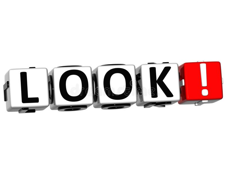 3D Look ! Button Click Here Block Text stock illustration