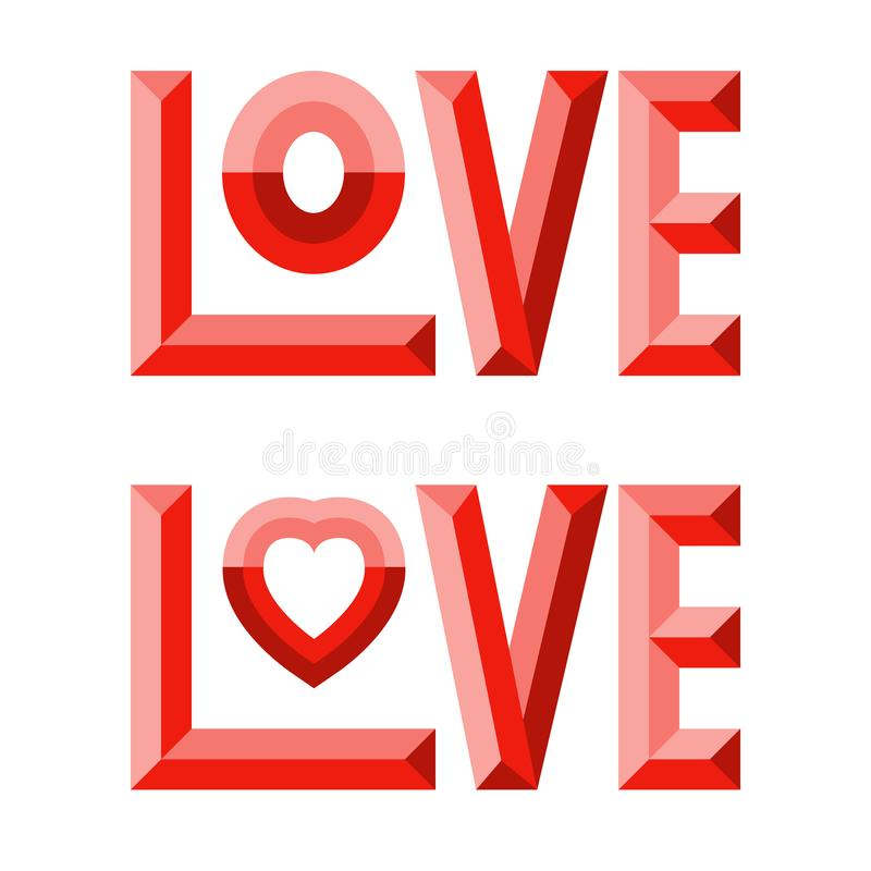 3d Love composition vector illustration