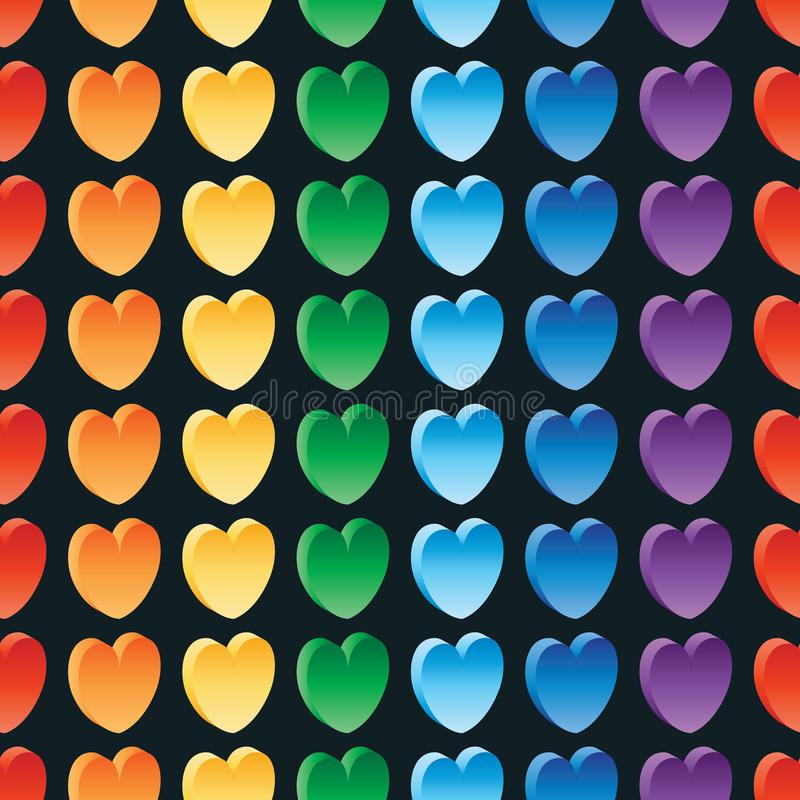 3d love rainbow seamless pattern royalty free illustration