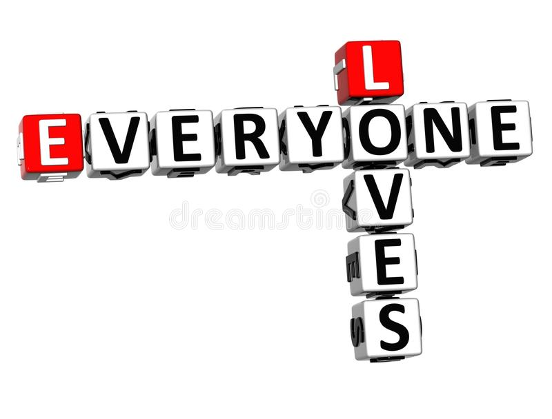 3D Loves Everyone Crossword royalty free illustration