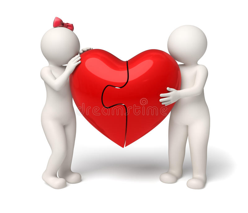 Download 3d Loving Couple Holding A Red Puzzle Heart