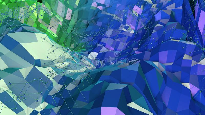 3d low poly abstract geometric background with modern gradient colors. 3d surface blue green gradient colors 11 royalty free illustration