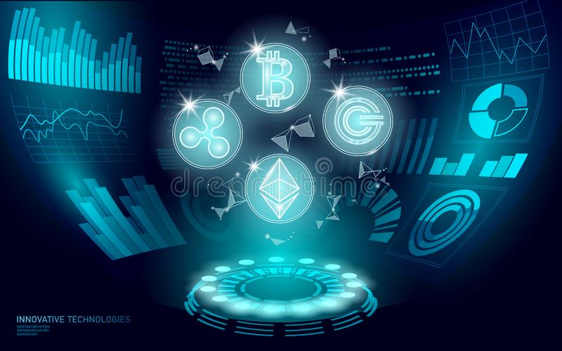 3D low poly digital cryptocurrency HUD display. Future web online payment. Big data information exchange technology. Blue abstract web internet electronic stock illustration