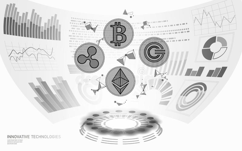 3D low poly digital cryptocurrency HUD display. Future web online payment. Big data information exchange technology. White abstract web internet electronic royalty free illustration