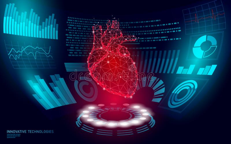 3D low poly human heart HUD display doctor online. Future technology medicine laboratory web examination. Blood system. Disease diagnostics futuristic UI vector royalty free illustration