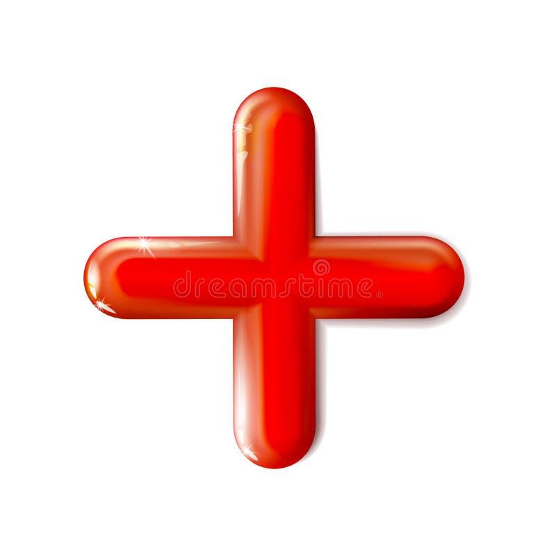 3D lucido ha isolato l'icona matematica del più Rosso di simbolo Ui, annuncio Giocattolo di plastica realistico di progettazione  illustrazione di stock