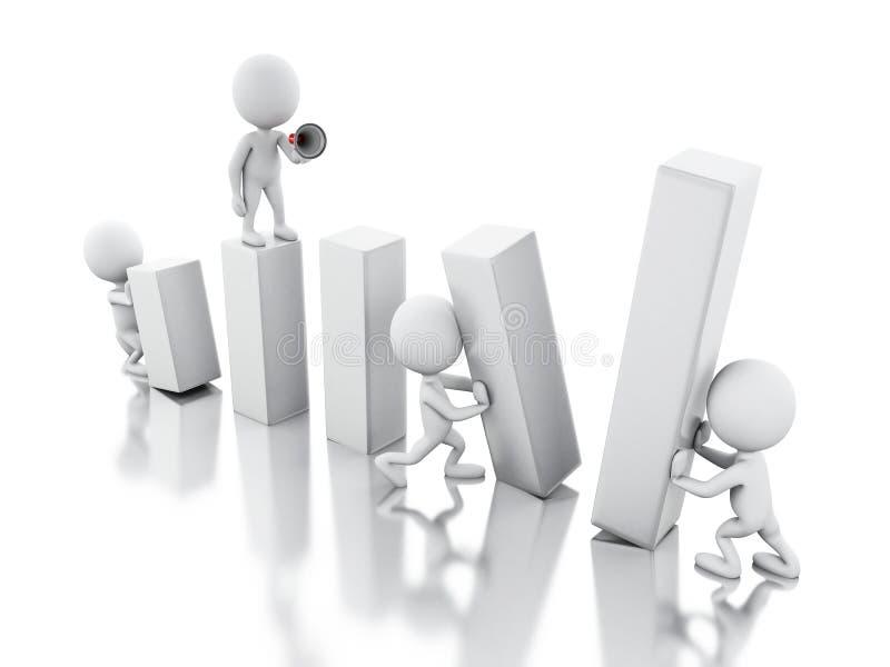 3d ludzie biznesu pracuje wpólnie ilustracja wektor