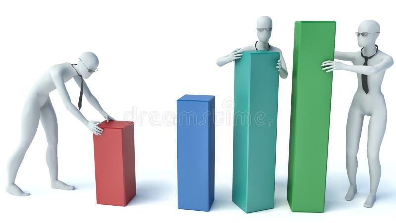 3d ludzie - grupy ludzi kładzenie blokuje statystyki royalty ilustracja