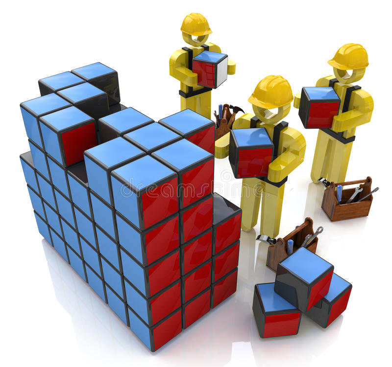 3d ludzie - ludzki charakter w budowa hełmach budować cu, ilustracji