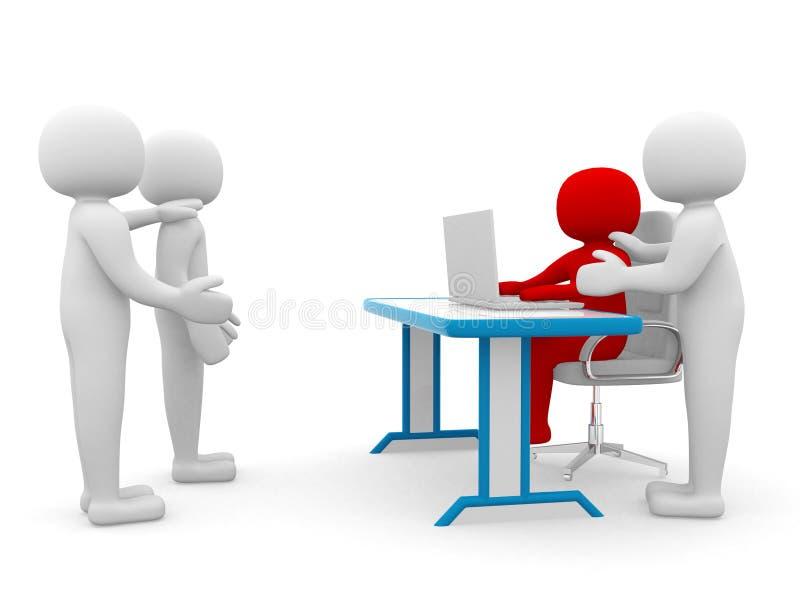 3d ludzie - osoba z laptopem biuro. Koledzy royalty ilustracja