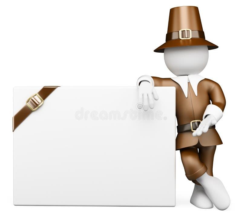 3d ludzie pytanie biel Dziękczynienie dnia kostium Pusty billboard royalty ilustracja