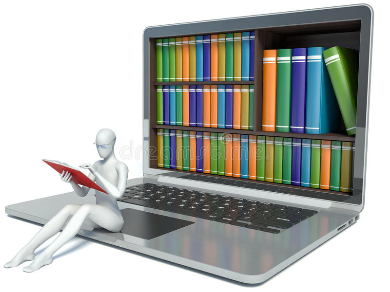 3d ludzie pytanie biel nowe technologie Cyfrowej biblioteka royalty ilustracja