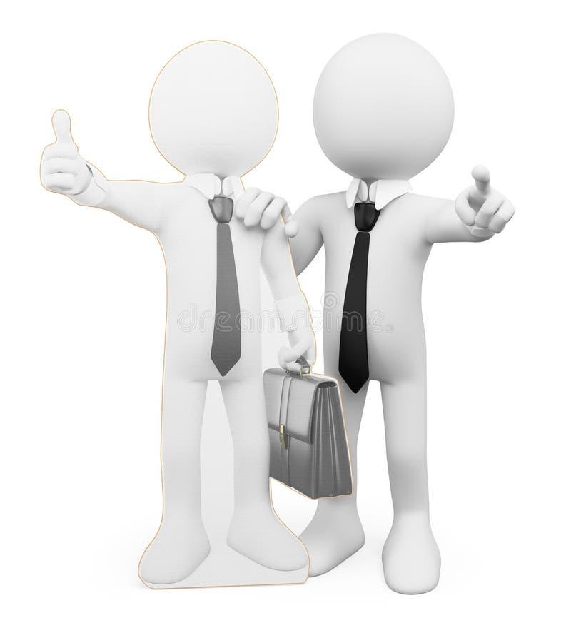 3d ludzie pytanie biel Osobistego biznesu coacher ilustracja wektor