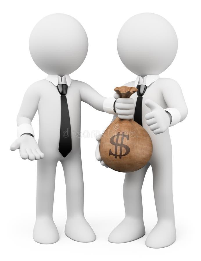 3d ludzie pytanie biel Pożyczkowy pojęcie biznesu odosobniony metafory biel ilustracja wektor