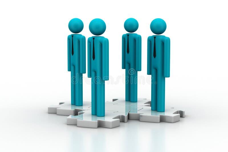 3d ludzie stoi na łamigłówce ilustracji
