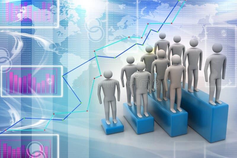 3d ludzie w grupie, przywódctwo pojęcie ilustracja wektor