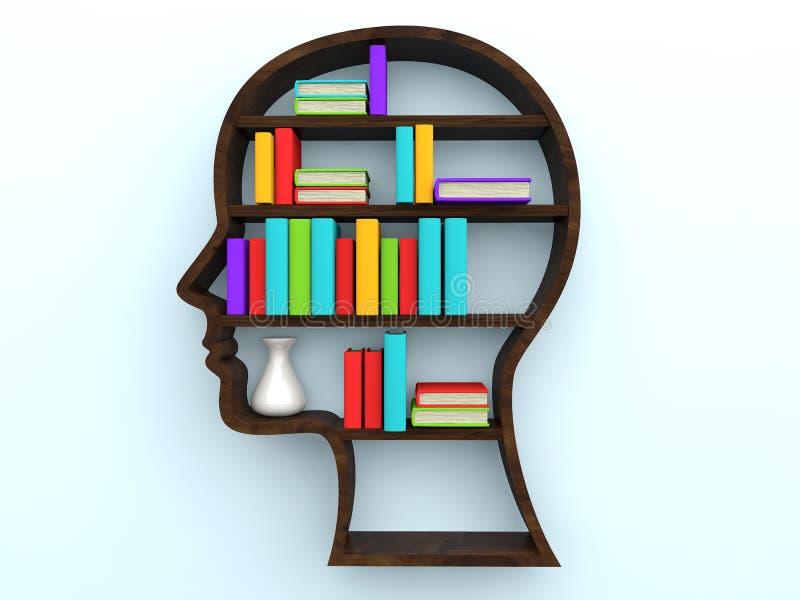 3d ludzkiej głowy kształta książki i półka na książki royalty ilustracja