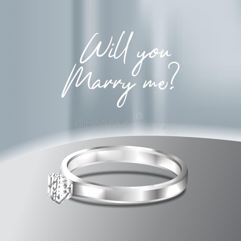 3D luksusu srebra elegancki pierścionek ty poślubiasz ja diamentowy klejnot dla proponuje zobowiązanie ilustracja wektor