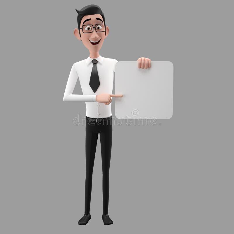 3d lustiger Charakter, sympathischer schauender Geschäftsmann der Karikatur lizenzfreie abbildung
