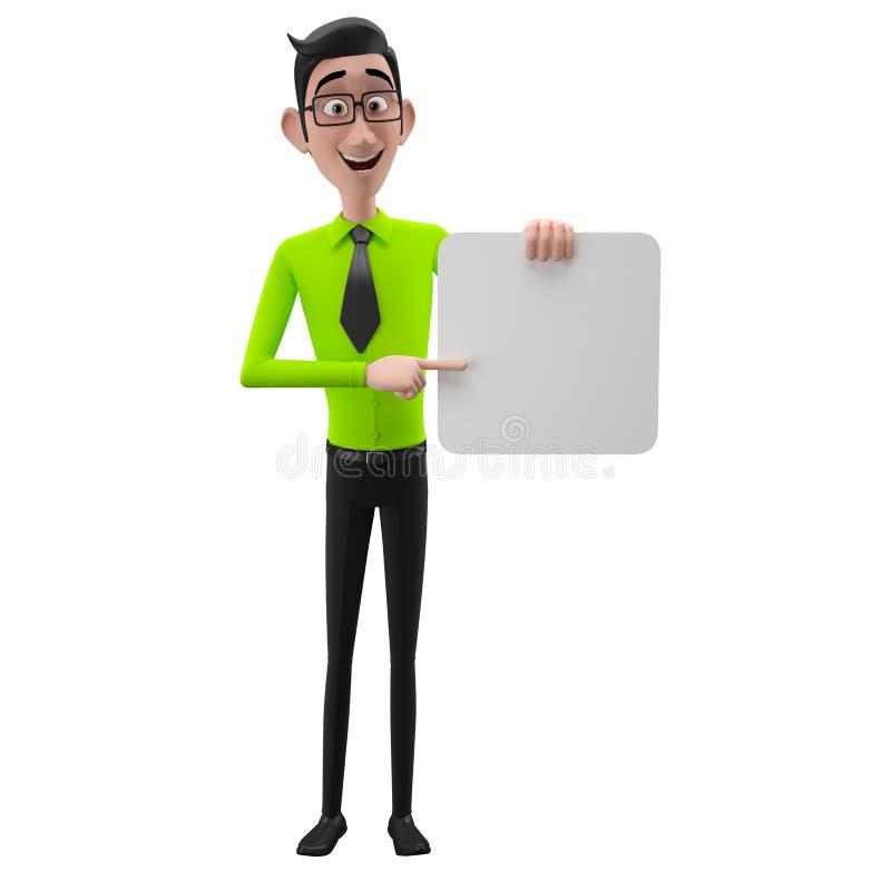 3d lustiger Charakter, sympathischer schauender Geschäftsmann der Karikatur vektor abbildung