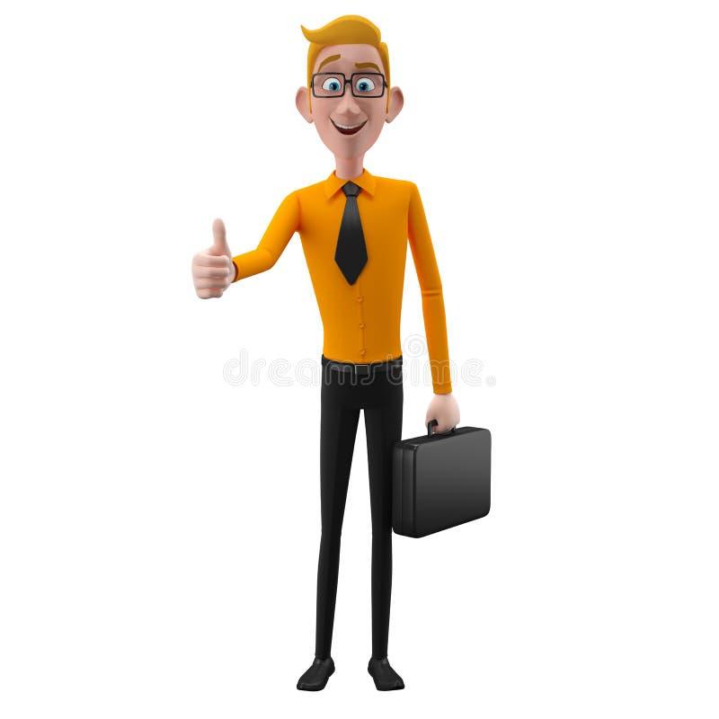 3d lustiger Charakter, sympathischer schauender Geschäftsmann der Karikatur stock abbildung