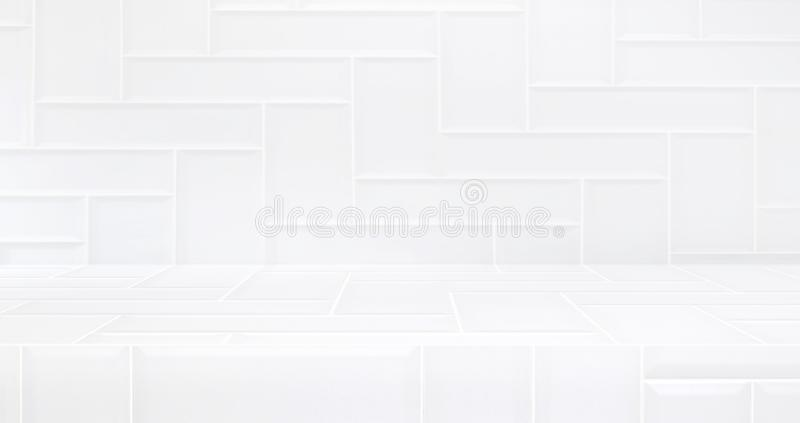 3D luxury white tile table studio background textured for product display with copy space for display of content design.Banner for. Advertise product on website royalty free illustration
