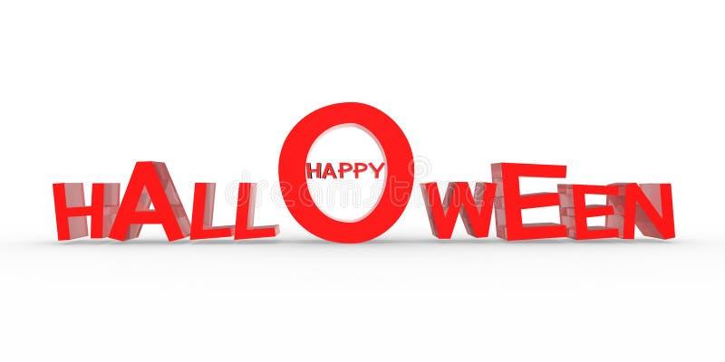 3D lyckliga halloween, röd text, vit bakgrund vektor illustrationer
