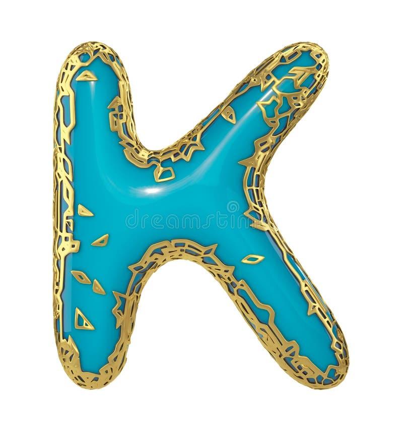 3D métallique brillant d'or avec la majuscule K - haut de casse de symbole bleu de peinture d'isolement sur le blanc 3d illustration stock
