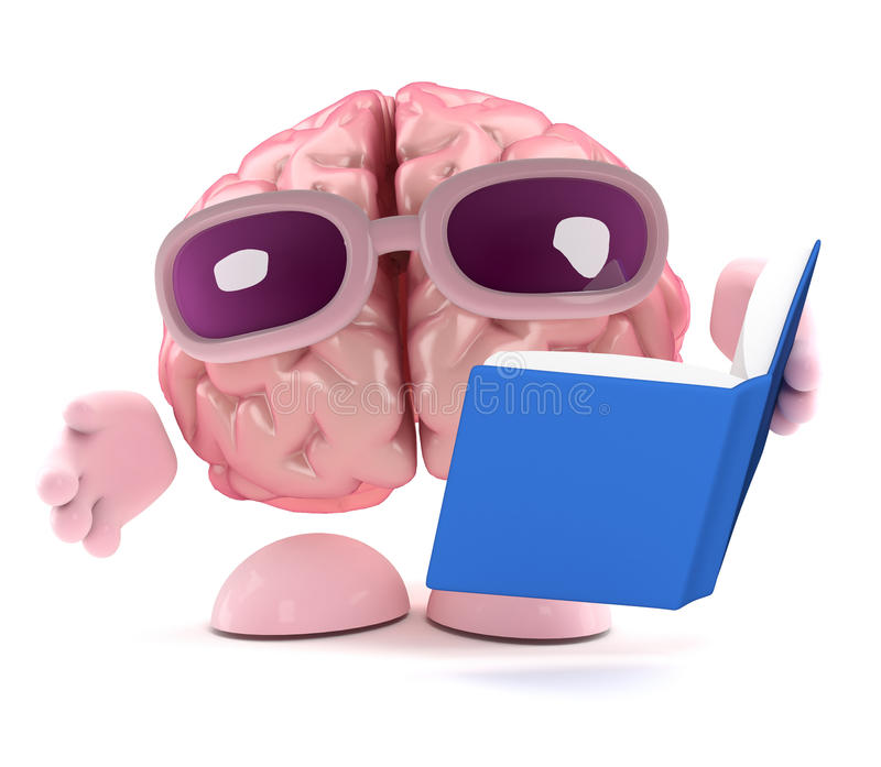 3d mózg czyta książkę ilustracji