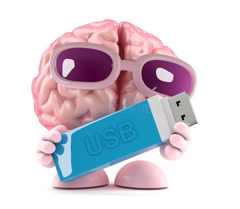 3d mózg trzyma USB pamięci kij ilustracja wektor