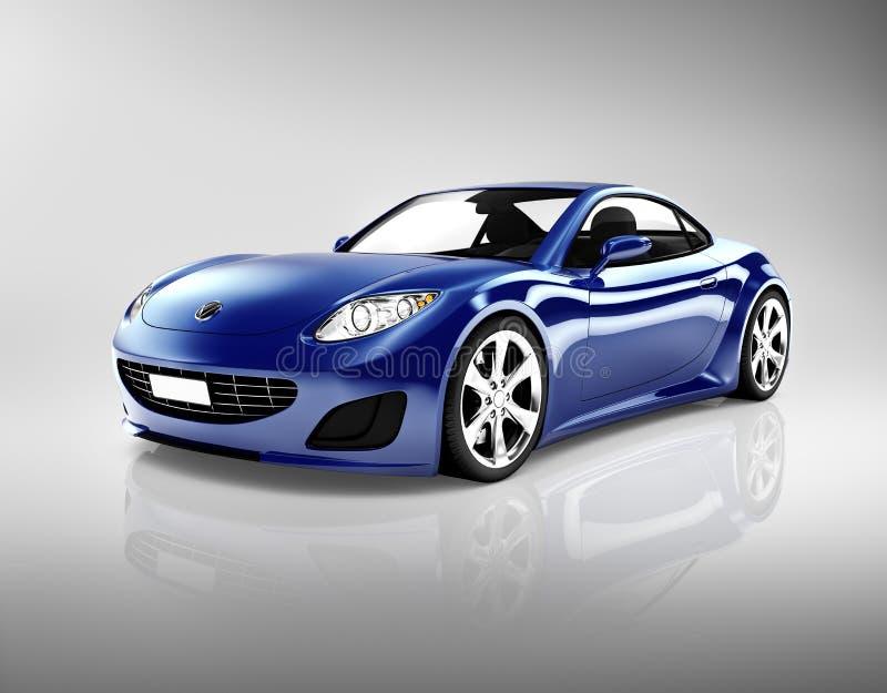 3D mörker - blå sportbil royaltyfri illustrationer