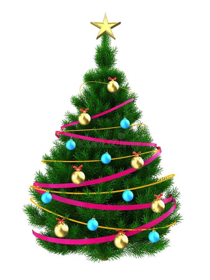 3d mörker - grön julgran stock illustrationer