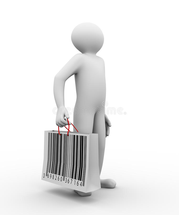 3d mężczyzna barcode torba na zakupy royalty ilustracja
