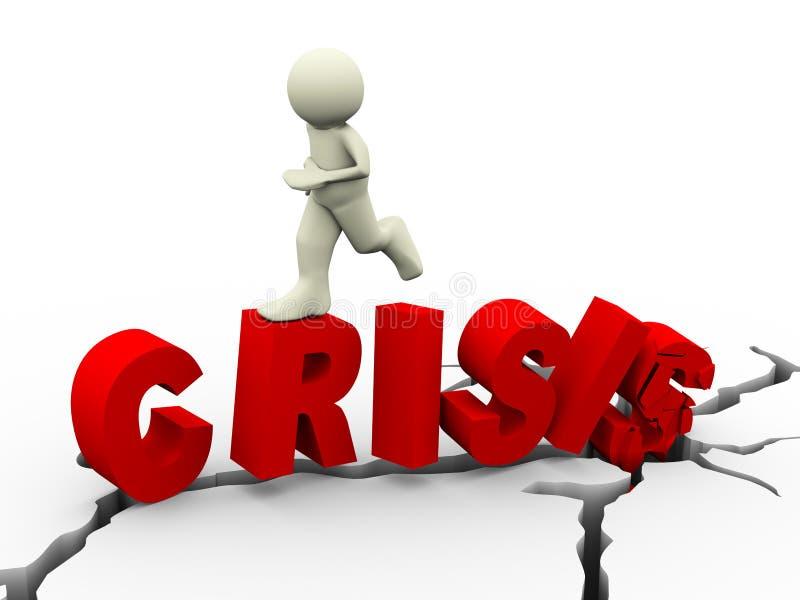 3d mężczyzna bieg na wyburzającym słowo kryzysie