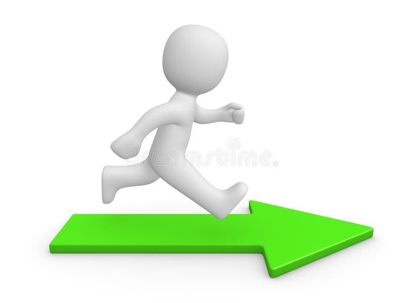 3d mężczyzna bieg na zielonej strzała ilustracja wektor