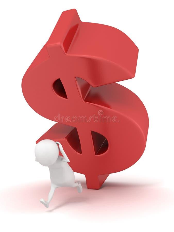 3d mężczyzna bieg od spada dużego czerwonego dolarowego symbolu ilustracja wektor