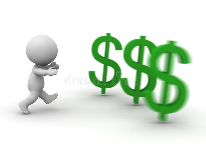 3D mężczyzna bieg po dolarowego symbolu ilustracji