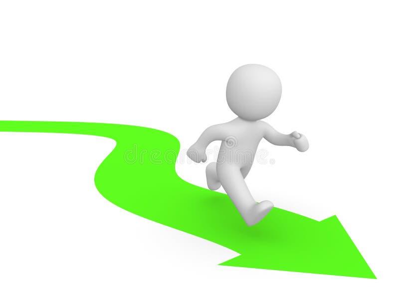 3d mężczyzna bieg wzdłuż zielonej strzała royalty ilustracja