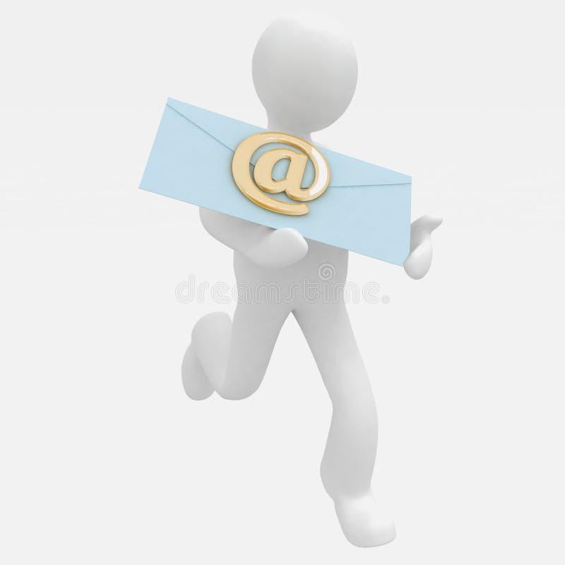 3d mężczyzna biega wysyłać emaila ilustracja wektor