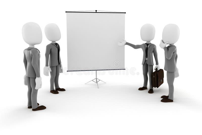 3d mężczyzna biznesmen przed pustą kanwą royalty ilustracja