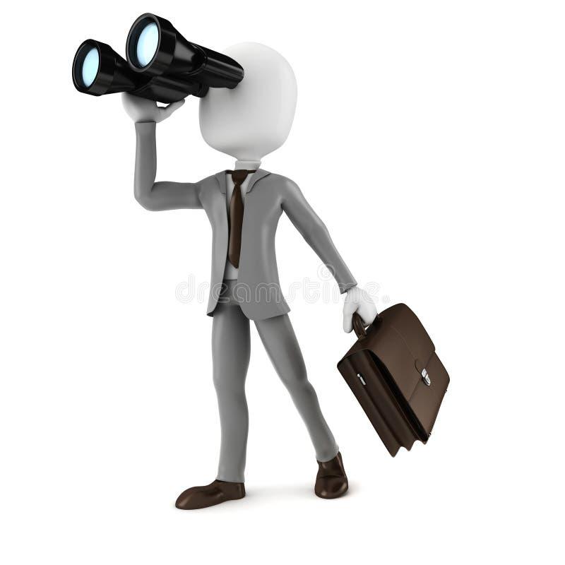 3d mężczyzna biznesmen trzyma obuocznego gmeranie dla sposobności w biznesie royalty ilustracja