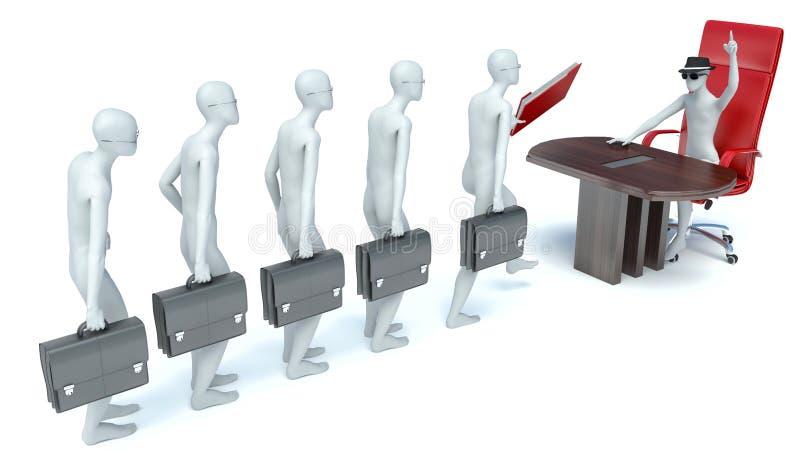 3d mężczyzna, biznesowy spotkanie, akcydensowy wywiad ilustracja wektor