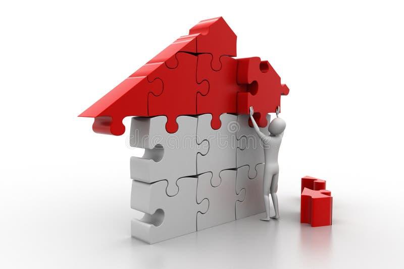 3d mężczyzna, buduje dom ilustracji