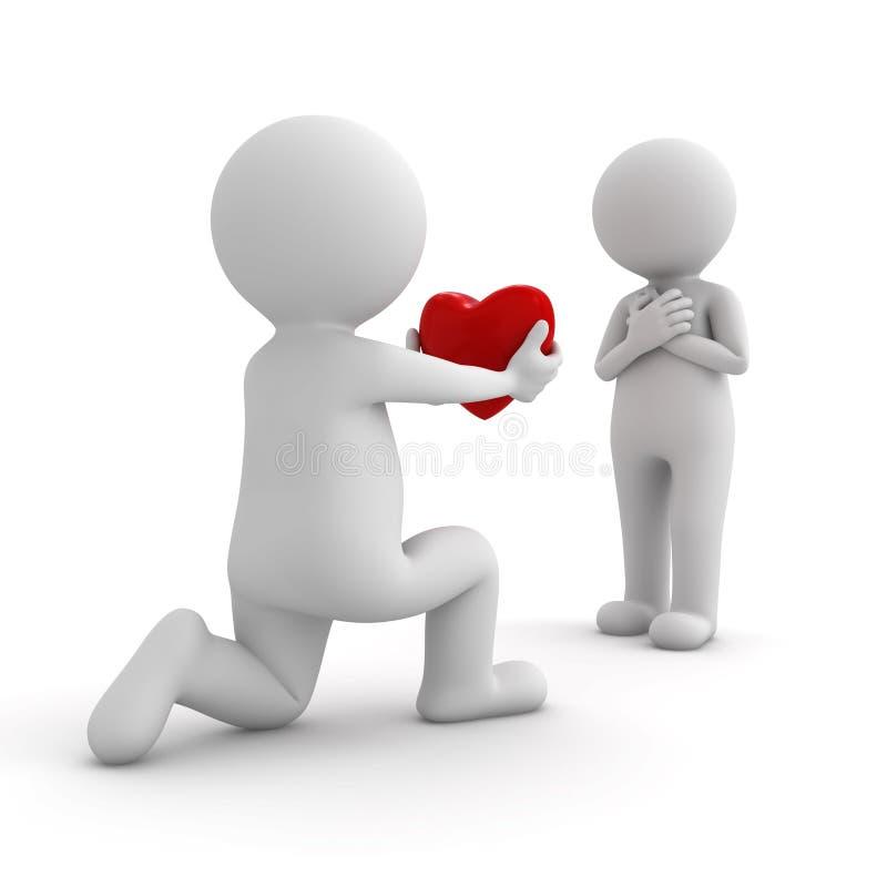3d mężczyzna dostaje w dół na jeden kolanie i daje sercu jego kochanek ilustracji