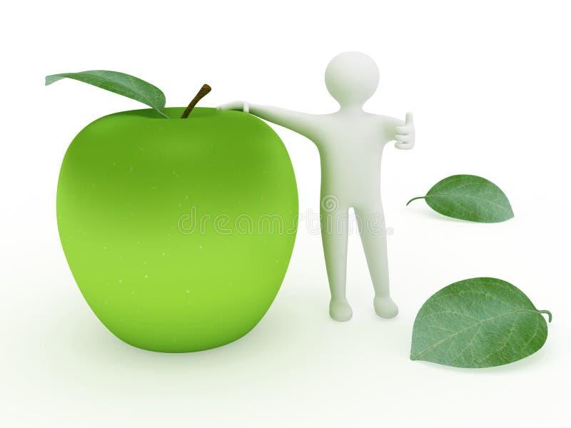 3d mężczyzna i jabłko obrazy royalty free