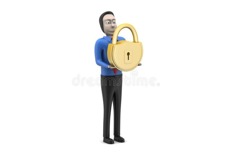 Download 3d mężczyzna kłódka ilustracji. Ilustracja złożonej z kłódka - 53778462